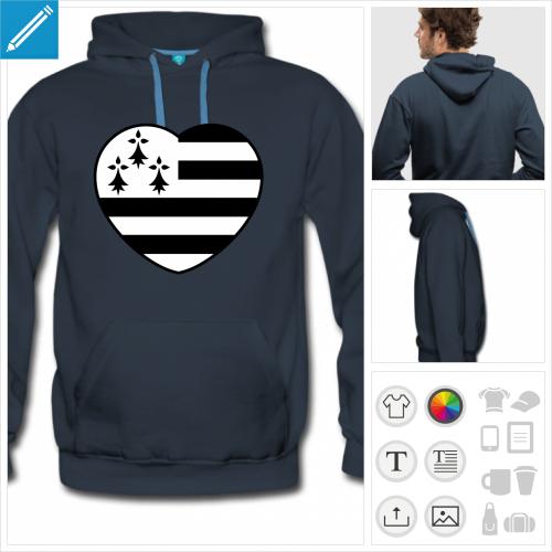 hoodie I love Bretagne à imprimer en ligne