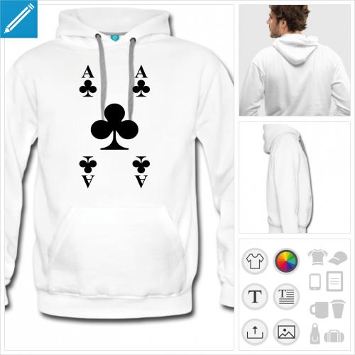 hoodie cartes à jouer personnalisable, impression à l'unité