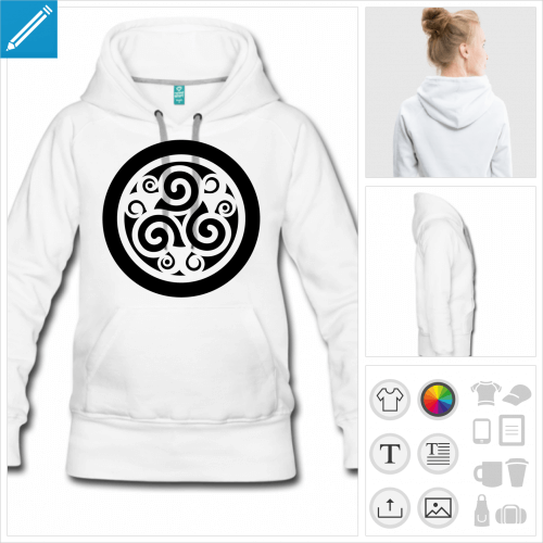hoodie femme triskel à créer en ligne