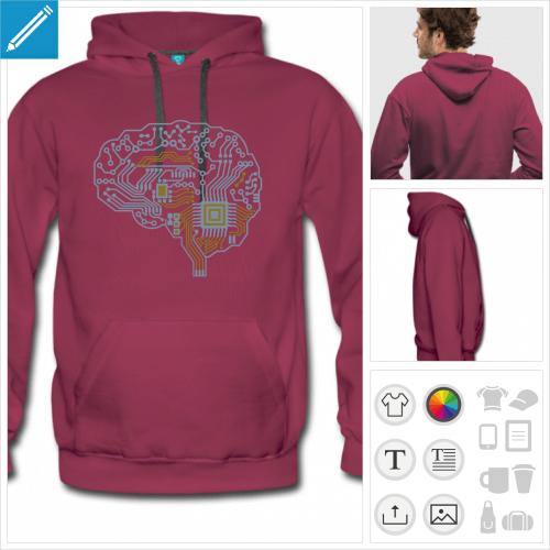 Hoodie masculin personnalisé avec un design geek, cerveau dessiné de profil composé de lignes de circuit imprimé.