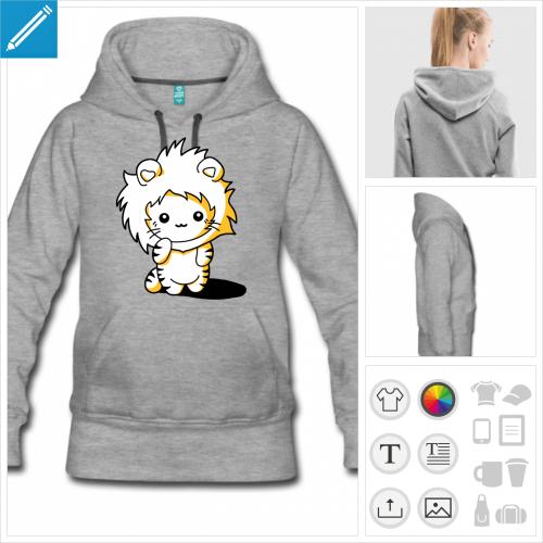 sweat-shirt à capuche chaton lion à personnaliser et imprimer en ligne