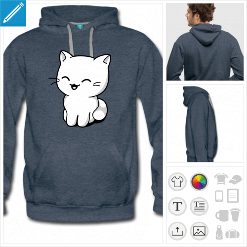hoodie homme chaton kawaii à personnaliser, impression unique