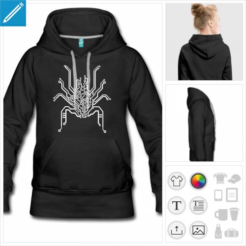 hoodie femme araignée à personnaliser en ligne