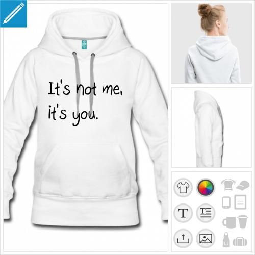 hoodie femme citations personnalisable