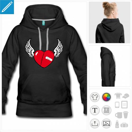 hoodie femme coeur ailes à personnaliser