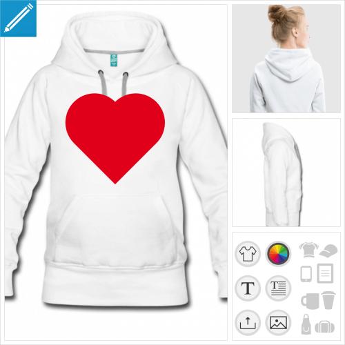 hoodie blanc i love à créer soi-même