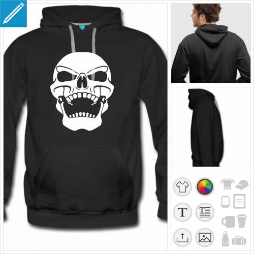 hoodie noir crâne à personnaliser et imprimer en ligne