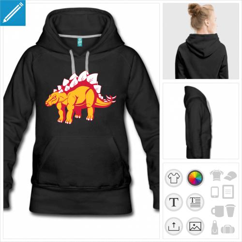 hoodie noir dinosaure à personnaliser, impression unique
