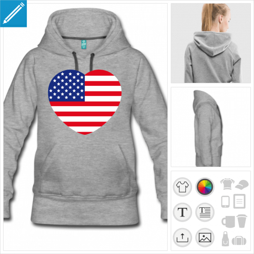 hoodie femme I love usa à créer en ligne