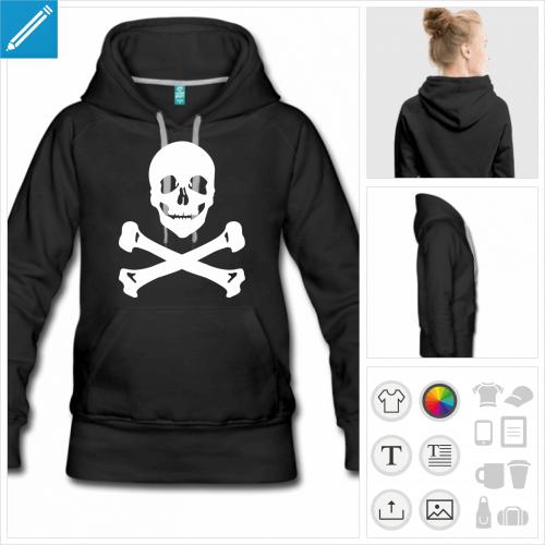 hoodie femme drapeau pirate personnalisable, impression à l'unité