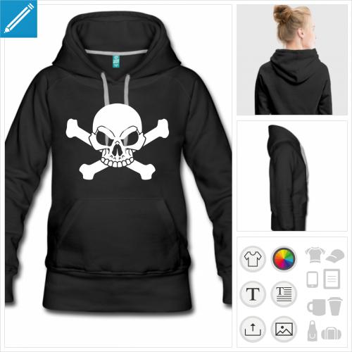 hoodie femme drapeau pirate à imprimer en ligne