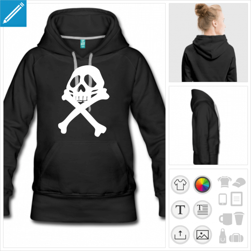 hoodie femme pirate personnalisable