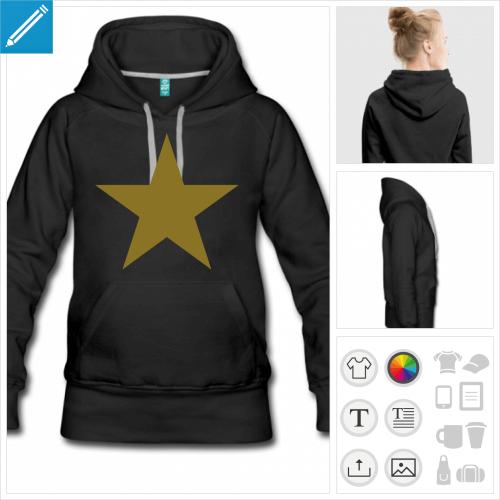 sweat-shirt à capuche Étoile 5 branches à personnaliser et imprimer en ligne
