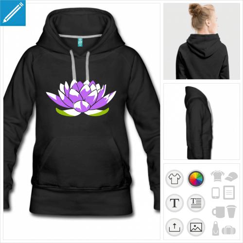 hoodie bleu marine lotus à personnaliser et imprimer en ligne