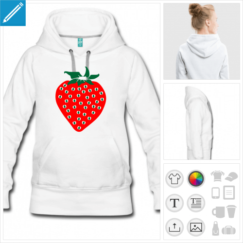 hoodie noir fraise à imprimer en ligne