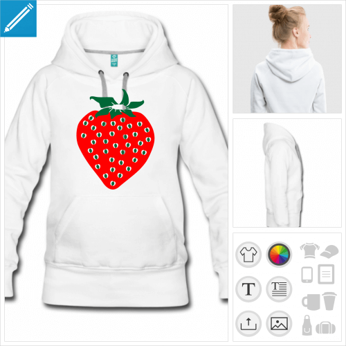 hoodie femme fraise personnalisable, impression à l'unité