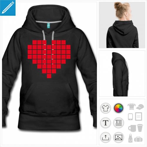 sweat-shirt à capuche coeur pixel personnalisable, impression à l'unité
