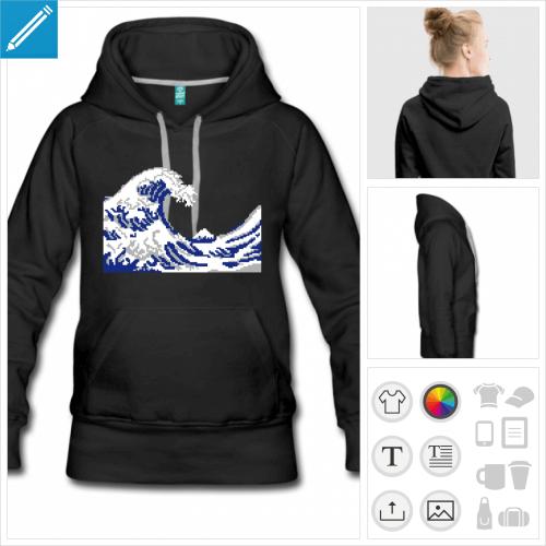 hoodie femme pixel art à imprimer en ligne