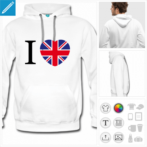 hoodie homme Angleterre à personnaliser