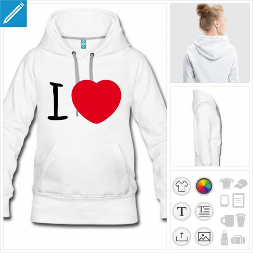 sweat-shirt à capuche I love coeur à personnaliser et imprimer en ligne