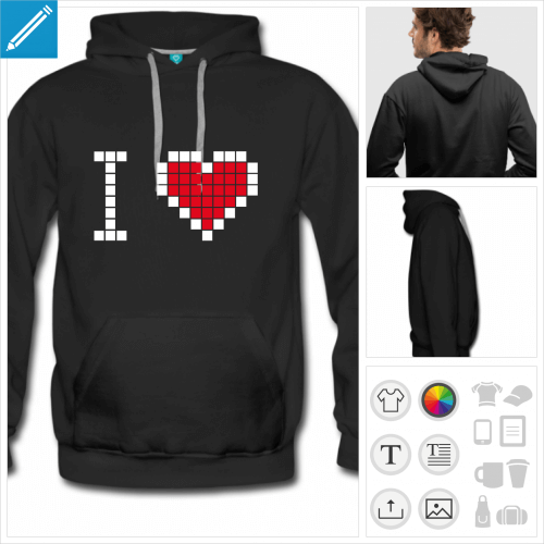 sweat homme i love pixels à personnaliser