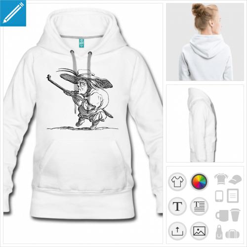 hoodie blanc joueur de luth à créer soi-même
