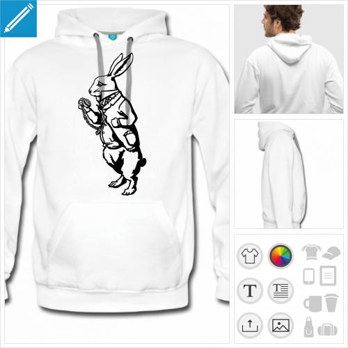 hoodie homme Lapin blanc à créer en ligne