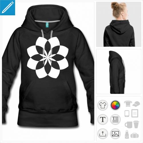 sweat-shirt à capuche fleur de lotus à créer en ligne