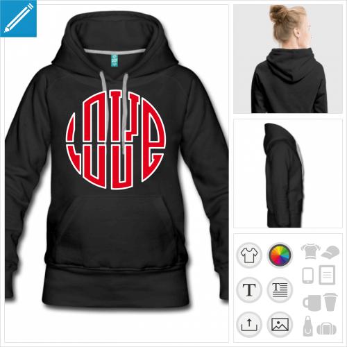 hoodie femme love personnalisable