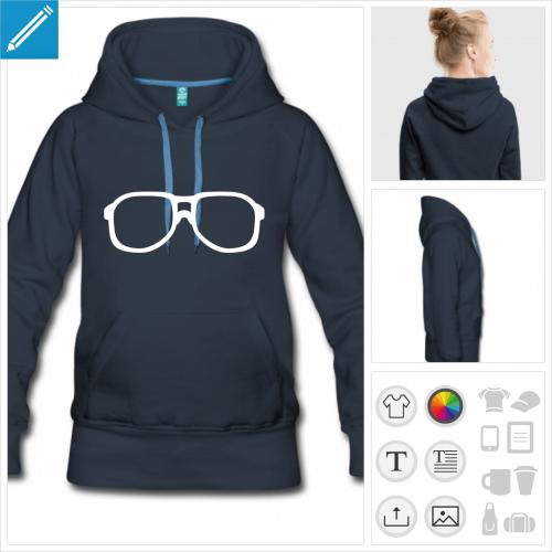 sweat-shirt à capuche lunette urkel à personnaliser, impression unique