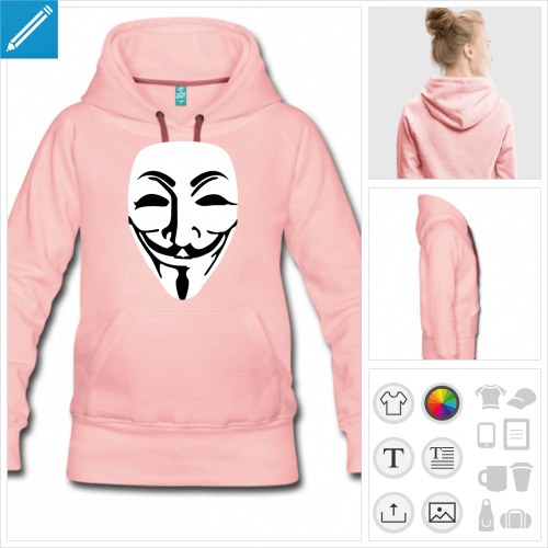 hoodie guy fawkes à personnaliser, impression unique
