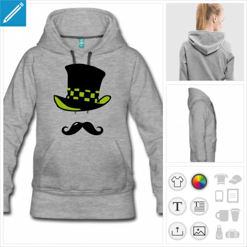 sweat-shirt gris moustache chapelier à imprimer en ligne