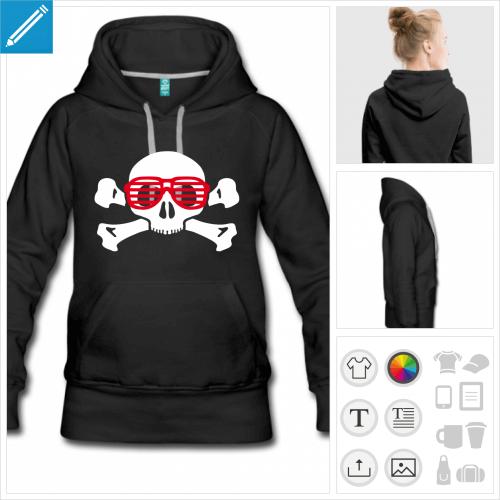 hoodie crâne lunettes personnalisable, impression à l'unité