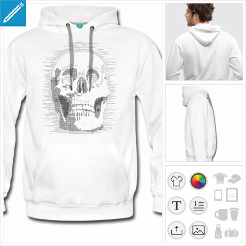 hoodie blanc nerd personnalisable, impression à l'unité
