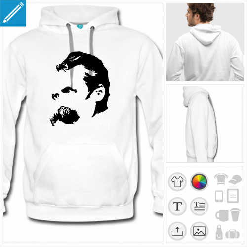 sweat-shirt Friedrich Nietzsche à personnaliser et imprimer en ligne