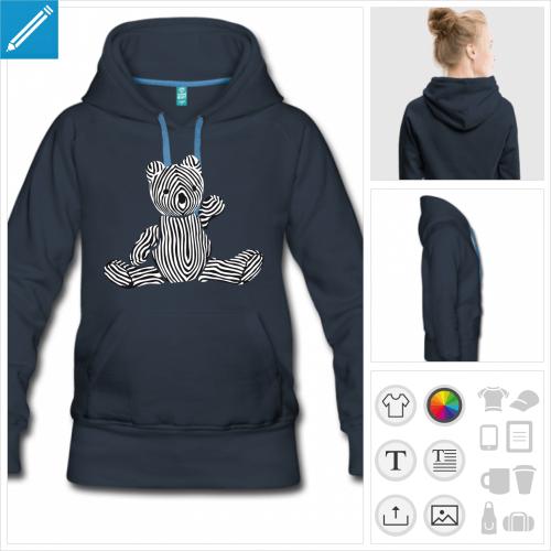 hoodie femme ourson à personnaliser et imprimer en ligne