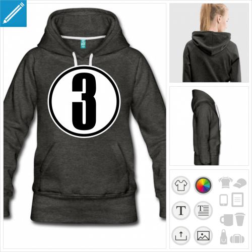 hoodie noir Numéro 3 à personnaliser