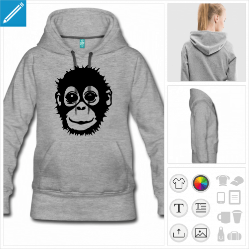 sweat-shirt gris bébé singe à créer soi-même