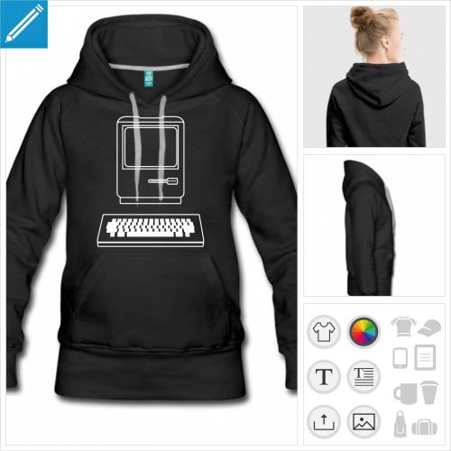 hoodie noir ordinateur personnalisable, impression à l'unité