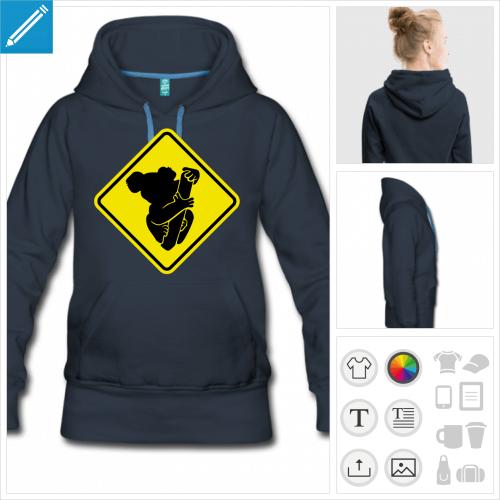 hoodie panneau koala à personnaliser et imprimer en ligne