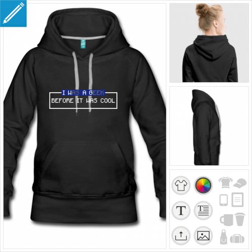 hoodie femme retrogaming à imprimer en ligne