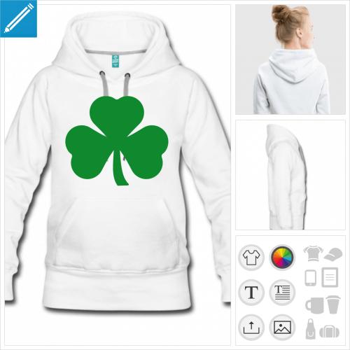hoodie blanc Irlande à personnaliser