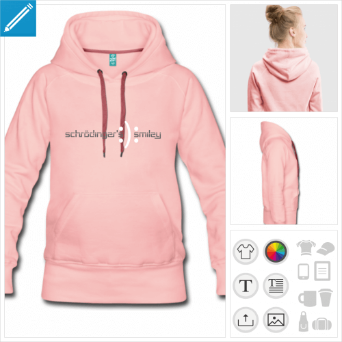 hoodie femme blague schrödinger personnalisable