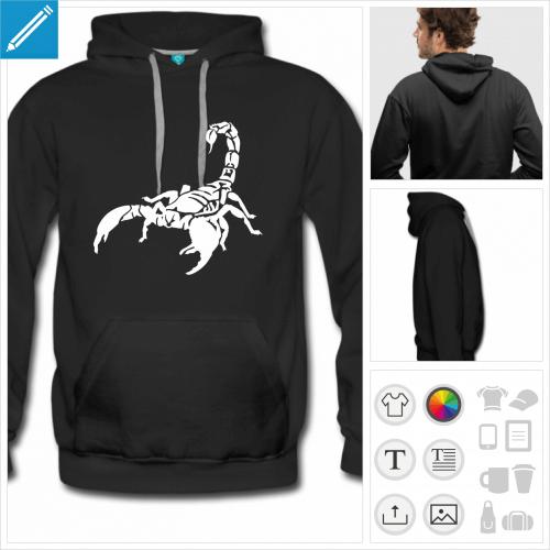 hoodie noir scorpion à personnaliser en ligne