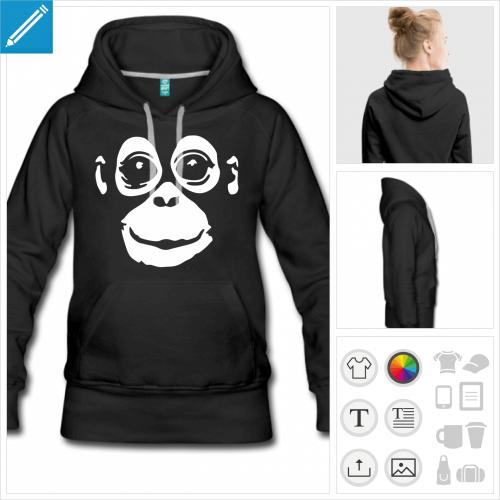 hoodie noir singe à personnaliser, impression unique