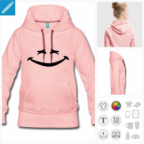hoodie noir smiley rigolo à imprimer en ligne