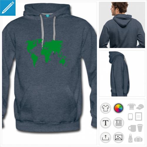 hoodie homme planète personnalisable, impression à l'unité