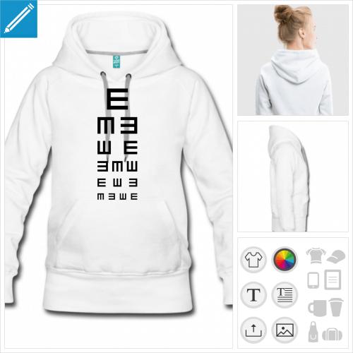 hoodie femme test ophtalmo à créer soi-même