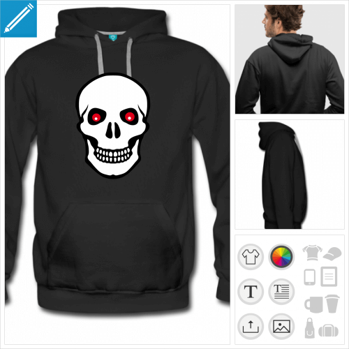 hoodie noir pirate drapeau à personnaliser en ligne