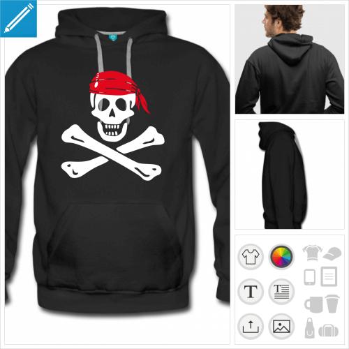 hoodie noir drapeau pirate personnalisable, impression à l'unité